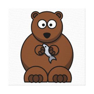 Cute Cartoon Brown Bear Gallery Wrap Canvas