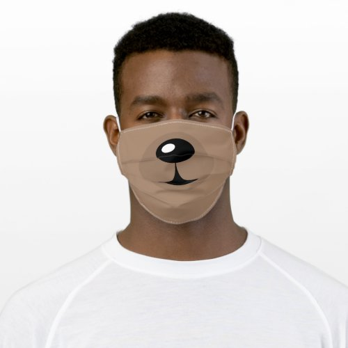 Cute Cartoon Brown Bear Character Adult Cloth Face Mask