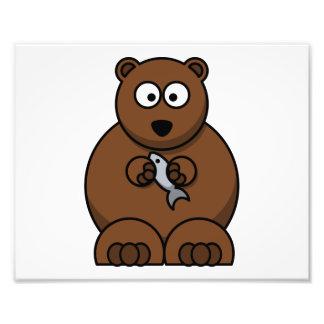 Cute Cartoon Brown Bear Photographic Print