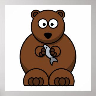 Cute Cartoon Brown Bear Poster