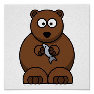 Cute Cartoon Brown Bear Print