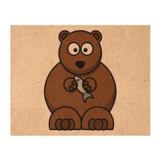 Cute Cartoon Brown Bear Queork Photo Print