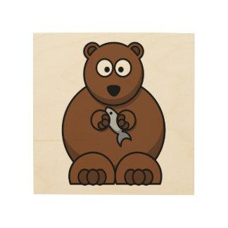 Cute Cartoon Brown Bear Wood Prints