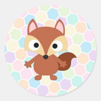 Cute Cartoon Brown Bushy Tail Raccoon Classic Round Sticker