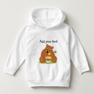 Cute cartoon brown honey bear eating honey, hoodie