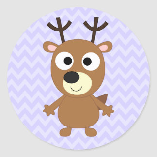 Cute Cartoon Brown Reindeer With Stubby Antlers Classic Round Sticker