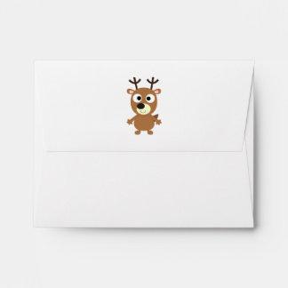 Cute Cartoon Brown Reindeer With Stubby Antlers Envelope