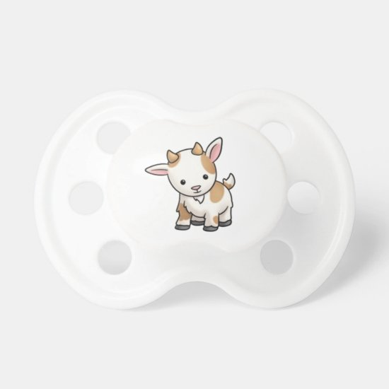 Cute Cartoon Brown & White Baby Goat | Cute Baby Pacifier
