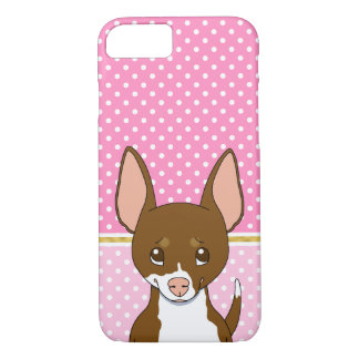 Cute Cartoon Brown White Chihuahua Dots Pink iPhone 7 Case