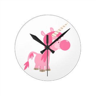 Cute Cartoon Bubble Gum Unicorn Wall Clock