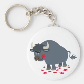 Cute Cartoon Bull and Red Bloom Keychain