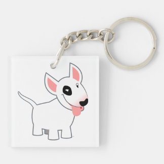 Cute Cartoon Bull Terrier Acrylic Keychain