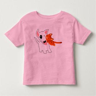 Cute Cartoon Bull Terrier and Kitten Kids T-Shirt