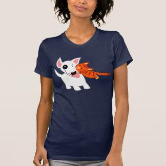 Cute Cartoon Bull Terrier and Kitten Women T-Shirt