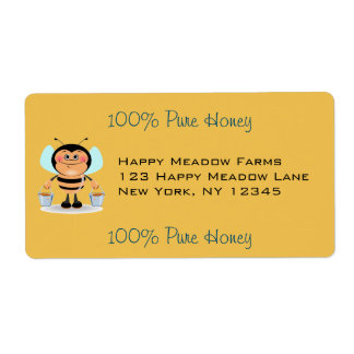 Cute Cartoon Bumble Bee Carrying Buckets of Honey Label