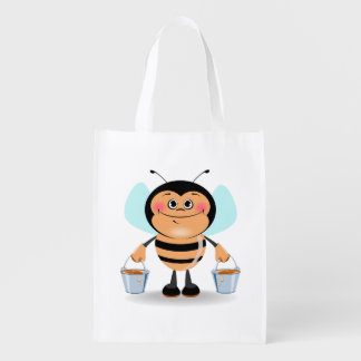 Cute Cartoon Bumble Bee Carrying Buckets of Honey Reusable Grocery Bag