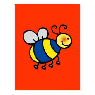 Cute cartoon bumble bee postcard