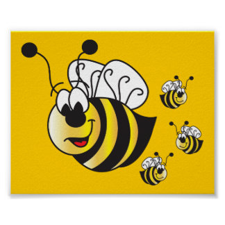 Cute Cartoon Bumble Bees Poster