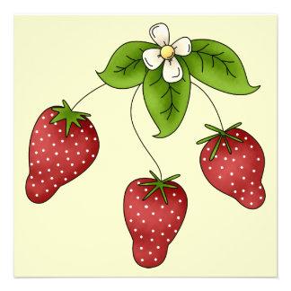 Cute Cartoon Bunch of Fruit Strawberries Design Invitation