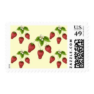 Cute Cartoon Bunch of Fruit Strawberries Design Postage