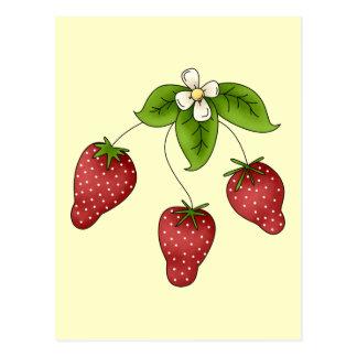 Cute Cartoon Bunch of Fruit Strawberries Design Postcard