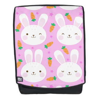 Cute cartoon bunnies and carrots on pink pattern backpack