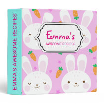 Cute cartoon bunnies and carrots on pink pattern binder
