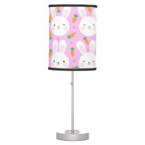 Cute cartoon bunnies and carrots on pink pattern desk lamp