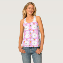 Cute cartoon bunnies and carrots on pink pattern tank top