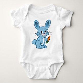 Cute Cartoon Bunny Holding Carrot Baby Bodysuit