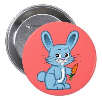 Cute Cartoon Bunny Holding Carrot Button