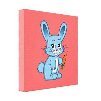 Cute Cartoon Bunny Holding Carrot Canvas Print