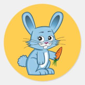 Cute Cartoon Bunny Holding Carrot Round Sticker