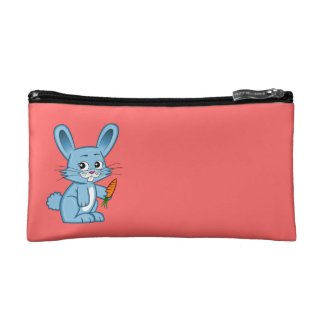 Cute Cartoon Bunny Holding Carrot Cosmetic Bag