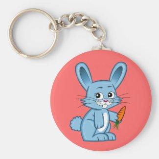 Cute Cartoon Bunny Holding Carrot Keychain