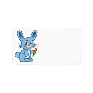 Cute Cartoon Bunny Holding Carrot Label