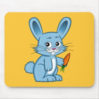 Cute Cartoon Bunny Holding Carrot Mouse Pad