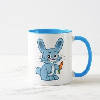 Cute Cartoon Bunny Holding Carrot Mug
