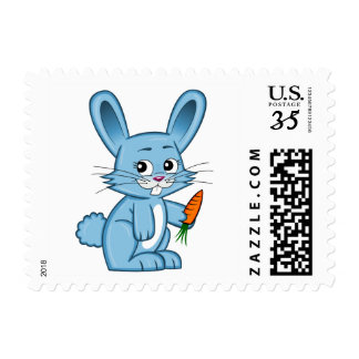 Cute Cartoon Bunny Holding Carrot Stamp