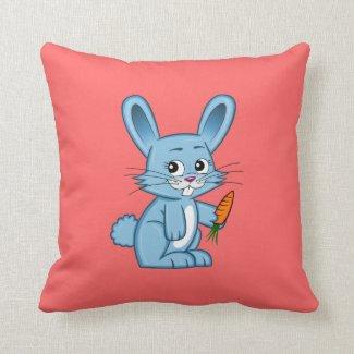 Cute Cartoon Bunny Holding Carrot Throw Pillow