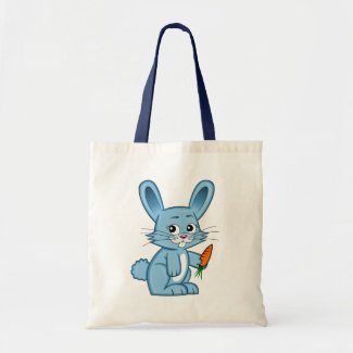Cute Cartoon Bunny Holding Carrot Tote Bag