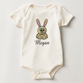 Cute cartoon bunny personalized with childs name baby bodysuit