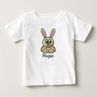 Cute cartoon bunny personalized with childs name baby T-Shirt