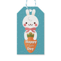 Cute cartoon bunny rabbit easter greetings gift tags