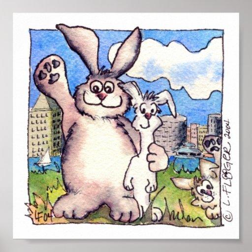 Cute Cartoon Bunny Rabbit Poster Print