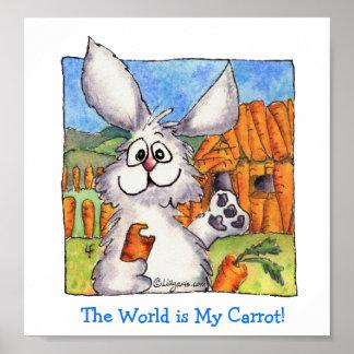 Cute Cartoon Bunny Rabbit Poster Print- Carrot