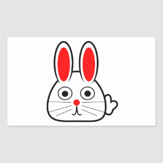 Cute Cartoon Bunny Rabbit Rectangular Sticker