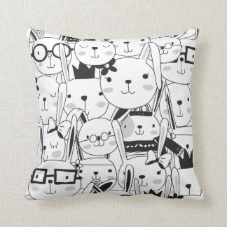 Cute Cartoon Bunny Rabbits Lots of Bunnies Throw Pillow