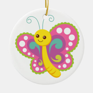 Cute Cartoon Butterfly, pink, yellow, green Ceramic Ornament