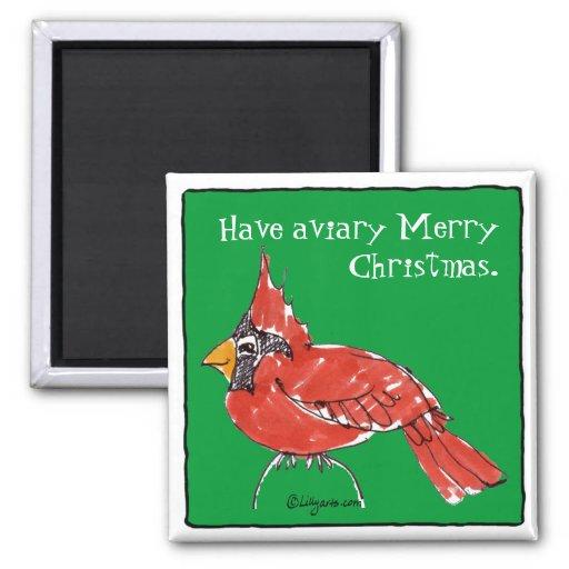 Cute Cartoon Cardinal Christmas Magnet